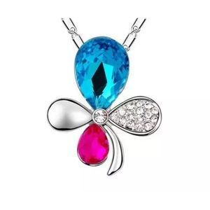 BLUE & PINK TOPAZ SILVER FLOWER PENDANT NECKLACE